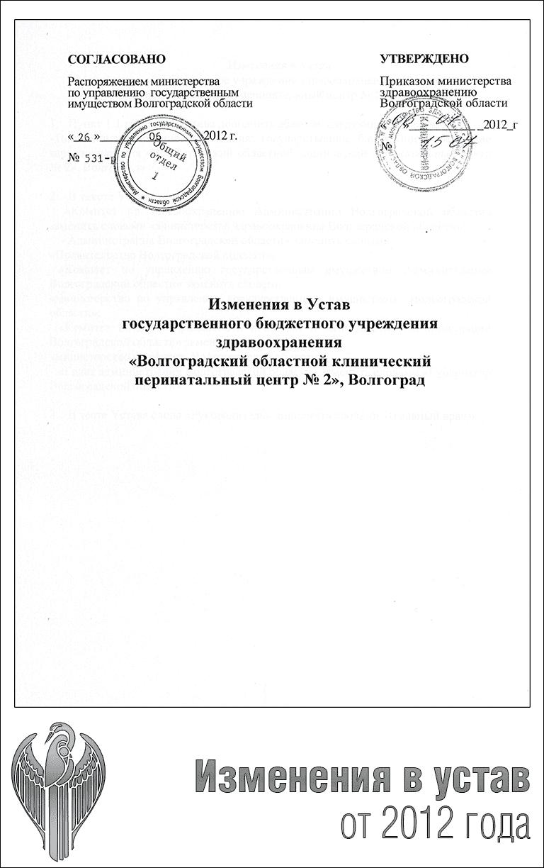Изменения в устав от 2012 года