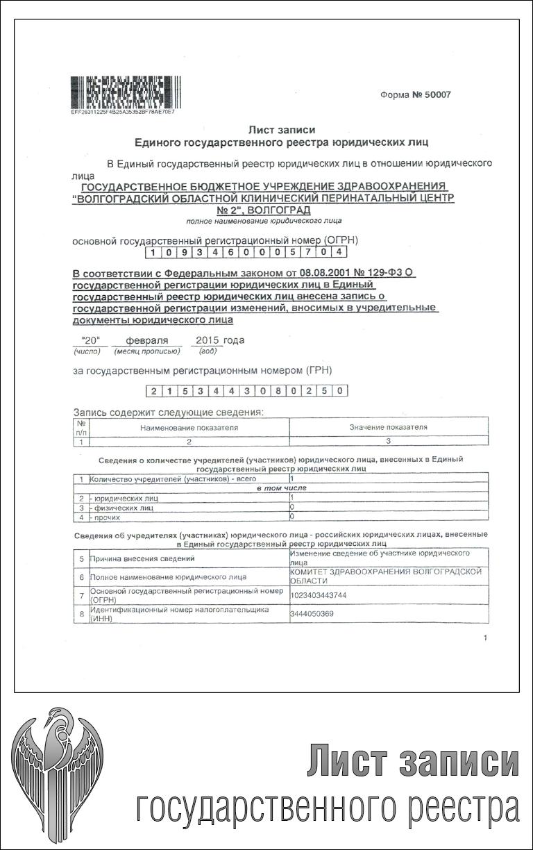 Лист записи государственного реестра