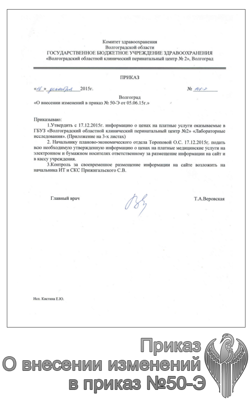 Приказ о внесении изменений в приказ Об утверждении цен на платные услуги